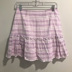 Striped lilac and white ruffle skirt